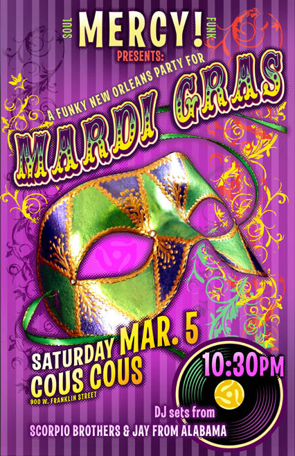 Rob Sheley - Posters - Mardi Gras Soul DJ Night poster